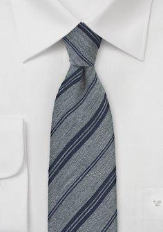 Kravatte Linien mittelgrau Wolle