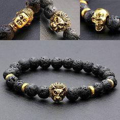 Ayliss 8mm Buda / Lion / Skull Mens Black Lava Rock Stone Beads Elastic Buddha Bracelet Bangle Northskull Armbanden Voor Vrouwen