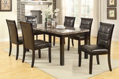 7-pc Marble Dining Set