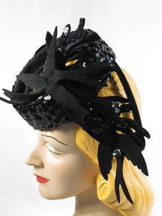 Vintage 1940s 40s Hat Black Sequin Cocktail by alleycatsvintage