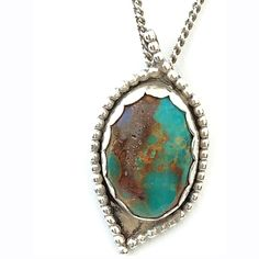 Beautiful Vintage Sterling Silver Turquoise Pendent Necklace - Beautiful Vintage Sterling Silver Turquoise Pendent Necklace