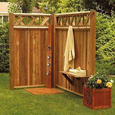 building an outdoor shower beach diy. Outdoor Shower Fixtures, Outdoor Shower Enclosure, Outdoor Showers, Outdoor Baths, Outdoor Bathrooms, Outdoor Spaces, Outdoor Living, Hawaiian Homes, Diy Shower