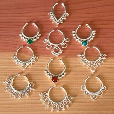 Assorted Silver Septums For Non Pierced Nose Indian by RONIBIZA