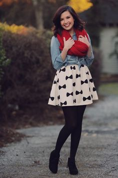 black and white dress/skirt + chambray + big, red scarf + black tights + black wedge booties