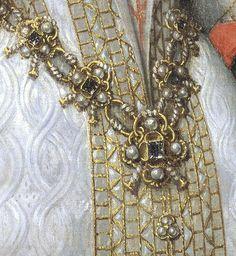 1616 copy of 1570 original Ana de Austria by Bartolomé González y Serrano (Prado) girdle diamonds, skirt jewel, and detail of fabric Renaissance Jewelry, Medieval Jewelry, Renaissance Costume, Renaissance Fashion, Jewelry Art, Vintage Jewelry, Detailed Paintings, Historical Clothing, Historical Dress
