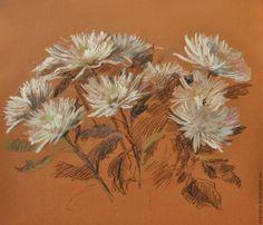Купить Картина пастелью Белые хризантемы - хризантема, белый, пастель, нежность, тайна, натюрморт с цветами