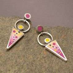 """""""Happy Happy"""" Earrings are one of a kind made with Fine Silver combined with polymer clay inlay, sterling silver ear posts and clutch. Earri..."""
