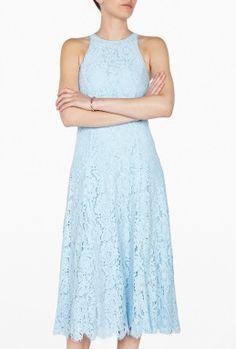 Pale Blue Cora Lace Midi Dress by Whistles