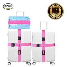 Cross Luggage Strap  Suitcase Travel Belt Tags  Heavy Superior Strength Extra Long 2packComes with complimentary luggage tags Rosy -- Check this awesome product by going to the link at the image.
