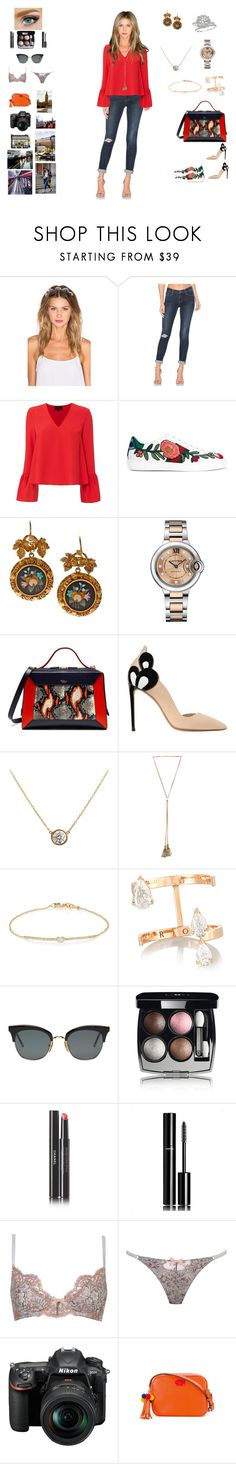 """""""A Day in London"""" by barrybaumbiz ❤ liked on Polyvore featuring Lelet NY, Frame, Exclusive for Intermix, Gucci, Harry Winston, Cartier, Mulberry, Nicholas Kirkwood, Chloé and Tate"""
