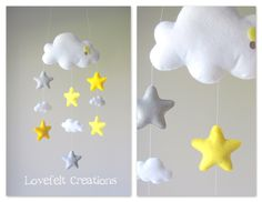 Baby mobile - Stars mobile - Cloud Mobile - Baby Mobile Cloud Stars by LoveFeltXoXo on Etsy https://www.etsy.com/listing/197246558/baby-mobile-stars-mobile-cloud-mobile