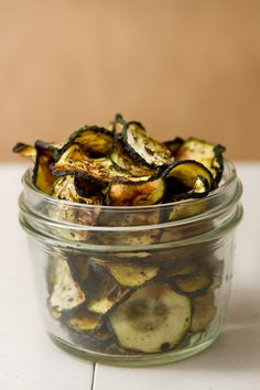 Baked rosemary and basil zucchini chips