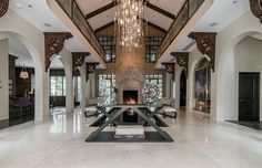 """The Dallas estate dubbed """"Casa Belle Vista,"""" — also known as """"Casa Bellamini"""" — has come into national reality TV stardom. A """"Real Housewives of Dallas"""" cast member was the winning bidder. Dream House Exterior, Dream House Plans, Texas Mansions, Million Dollar Rooms, Modern Hallway, Bedroom Layouts, Dream Home Design, Contemporary Interior Design, Ranch Style"""