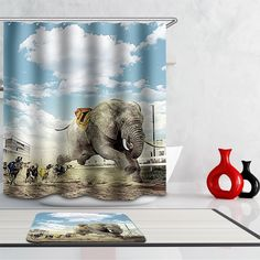 New Arrivals Shower Curtain Nordic Creative lovely animal Cartoon Pattern Home decor Shower Curtain Waterproof Bathroom Fabric #Affiliate