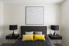 Bedroom by Greg Natale   Modern appartment with a black and yellow bedroom.   For more inspirations visit: www.bedroomideas.eu   #bedroomcolors #bedroomdecoration #bedroomdesignideas