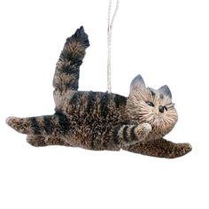 Bristle Tabby Cat Christmas Decoration