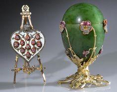 Imperial Pansy Egg, 1899         House of Fabergé, Michael Perkhin, workmaster; Serge Solomko, miniaturist  Nephrite, silver-gilt, enamel, and rose-cut diamonds