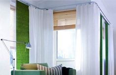 I also like the window coverings. Green and White and beige or yellow. Could go around corner for room divider and take the window curtain during the day. So not against the wall. Ceiling Curtain Track, Ceiling Curtains, Ikea Curtains, Master Bedroom Interior, Bedroom Decor, Bedroom Furniture, Ideas Armario, Corner Curtains, Living Spaces
