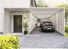 Get inspired by photo about carport ideas attached to house. best custom wood carport & open carport design for your lovely home. Design Garage, Carport Designs, Exterior Design, Future House, My House, Modern Carport, Modern Garage, Carport Garage, Pergola Carport
