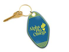 Laser engraved keychain. 3 inch by 2.75 inches wide acrylic. Gold tone split ring and jump ring. Engraved Tumblers, Alpha Phi Omega, Split Ring, Laser Engraving, Personalized Items, Gold, Accessories