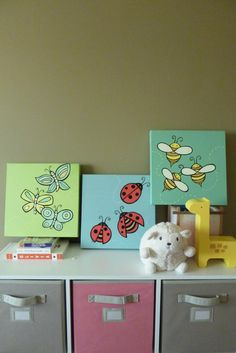 Baby Love Bug Series 3 Original 12 x 12 Paintings  by lifelonglove