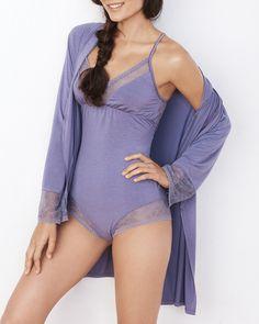 Cheeky Lace Romper in Purple.