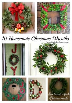 10 Homemade Christmas Wreath Ideas - save money and make your own holiday wreaths.