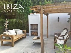 Nice picture of the countries in its backyard from the covered front porch and the ibiza lounge sofa for outdoor. Bali Garden, Home And Garden, Outdoor Fire, Outdoor Living, Ibiza Style Interior, Porches, Terraced Backyard, Dream Beach Houses, Beach Cafe