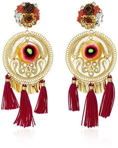 Mercedes Salazar Gold and Red Tassel Pom Pom Floral Clip-On Earrings