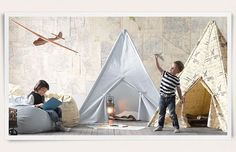KIDS ROOM – What a creative approach to a child's bedroom. Restoration Hardware Baby & Child.