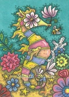 RAINBOW SEA PONY - Here's a whimsical little Seahorse to add to my series.  Susan Brack Original Illustration Art Fantasy Whimsy EBSQ ACEO