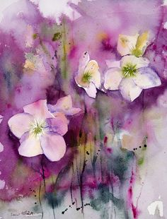 Flowers watercolor, Original flower painting, Original Watercolour, Watercolor, flowers watercolour - by MartineSaintEllier