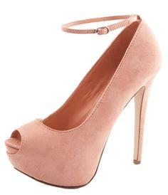 edd474aa299 Breckelles Women s High Heel Ankle Strap Peep Toe Platform Stiletto Pumps  Nude 9