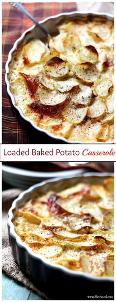 Everyone's favorite Loaded Baked Potatoes as a creamy and cheesy casserole made with potatoes, cheese and bacon.