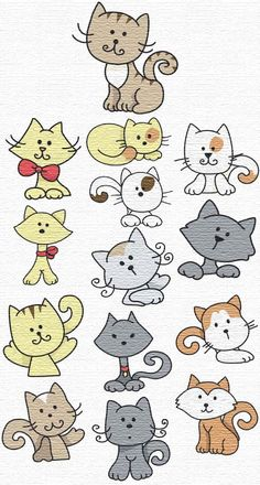 kitty ideas from embroidery patterns - ideas for painted rocks
