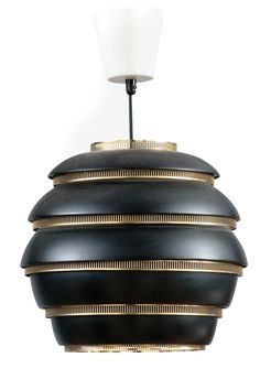Alvor Aalto beehive lamp in black Vintage Lamps, Vintage Lighting, Cool Lighting, Lighting Design, Pendant Lighting, Lighting Direct, I Like Lamp, Ceiling Lamp, Ceiling Lights
