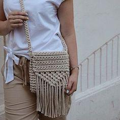 Crochet Backpack, Bag Crochet, Crochet Handbags, Crochet Purses, Crochet Bag Tutorials, Crochet Videos, Cotton Cord, Macrame Purse, Crochet Shoulder Bags