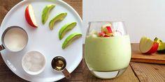 Zielone koktajle: awokado + jabłko + miód + mleko roślinne