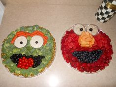 My husband created an Elmo fruit tray and an Oscar veggie tray for our daughter's Seasame Street themed 1st B-Day.