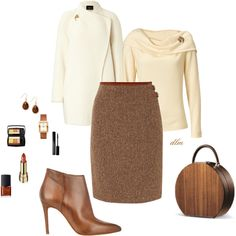 Spice Brown by dmiddleton on Polyvore featuring polyvore, fashion, style, Akris, Lauren Ralph Lauren, Barneys New York, Tory Burch, Style & Co., Susan Caplan Vintage and Lancôme