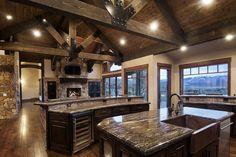 Modern Rustic Homes, Rustic Home Design, Home Interior Design, Rustic Decor, Mountain Dream Homes, Mountain House Plans, Mountain Houses, Mountain Home Interiors, House Interiors