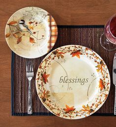 Autumn Dessert Plates Set of 4 & All Star 8 inch Tableware and Personalized Dinnerware Plates for ...