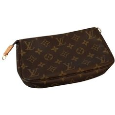 Pre-owned Pochette (2.235 DKK) ❤ liked on Polyvore featuring bags, handbags, clutches, brown, preowned handbags, brown handbags, pre owned purses, louis vuitton pochette and louis vuitton clutches
