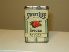 Rare Vintage Spice Tins | RARE Vintage Spice Tin Sweet Life Brand Spices Savory 1 1 4 oz Gold ...