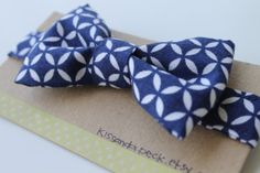Navy Blue with White Diamond Design Bow Tie for toddler, baby, or young boy
