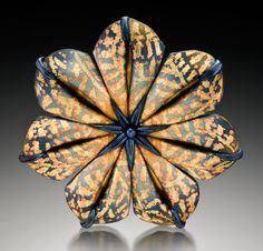 Brooch | Rachel Carren. 'Wm. Morris Sebo divided'.  Polymer, acrylic, mica powder