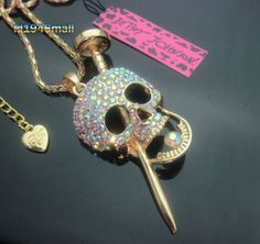 Just in!! Betsey Johnson Full crystal Skull Nail Pendant Sweater Chain Necklace  #BetseyJohnson #Pendant