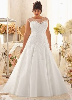 A-Line/Princess Scoop Neck Court Train Organza Wedding Dress With Beading Appliques Lace