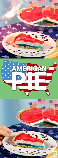 "Kraft Recipes helps us whip up this ""American pie"", a light, bright dessert of creamy whipped topping sandwiched between spiked red and blue Jell-O, all inside a graham cracker crust. The booze isn't too overwhelming, but will take the edge off any Don McLean or Stifler's mom jokes that'll sure to be thrown around when you serve it at your BBQ."