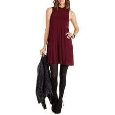 Charlotte Russe Burgundy Sleeveless Mock Neck Swing Dress by Charlotte... ($25) ❤ liked on Polyvore featuring dresses, burgundy, trapeze dress, charlotte russe dresses, burgundy dress, charlotte russe and no sleeve dress